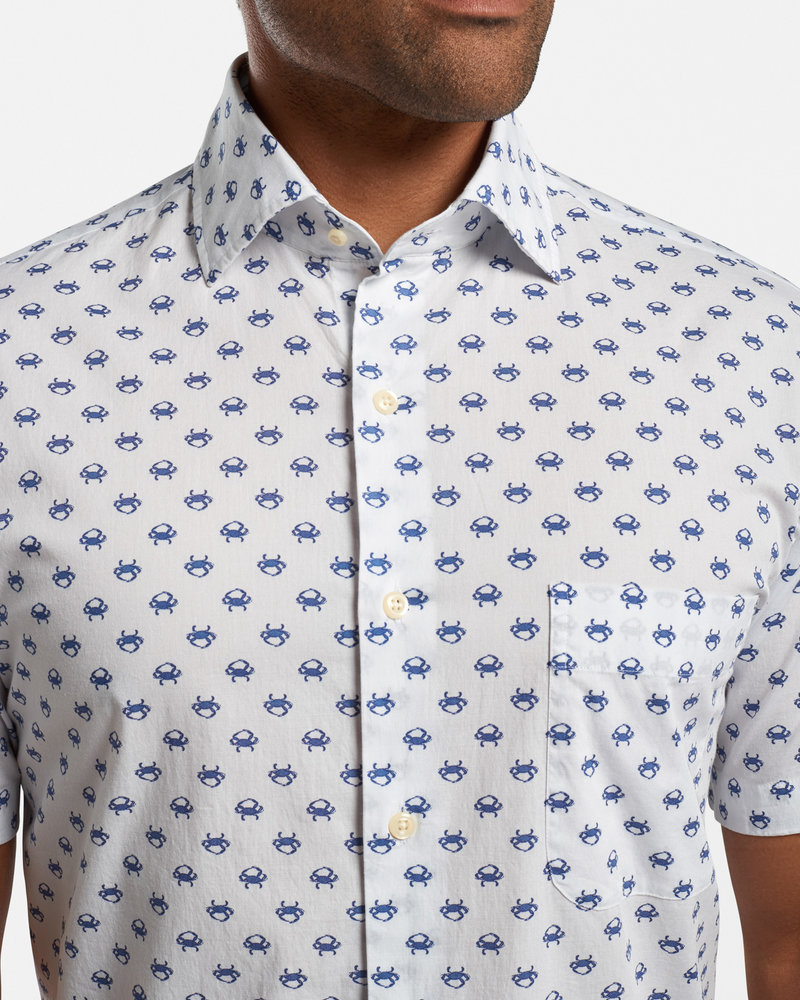 Peter Millar Peter Millar Blue Crab Cotton-Blend Sport Shirt Seaside Collection