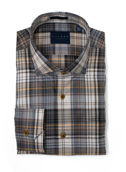 Calder Calder Super Melange Twill Plaid Sport Shirt