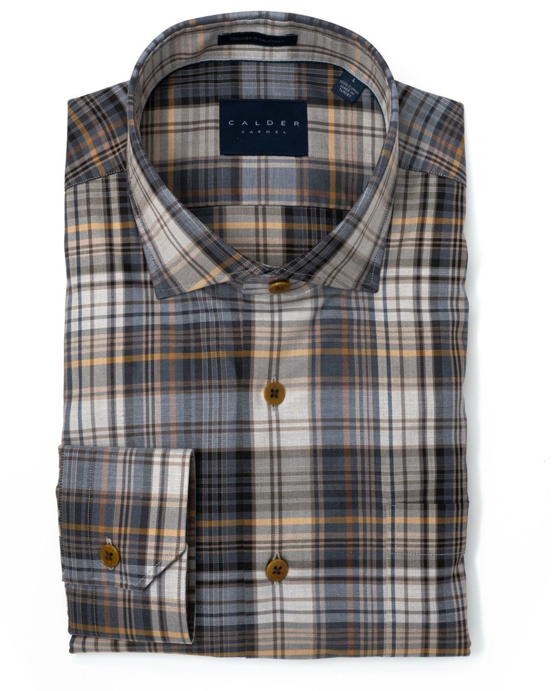Calder Calder Super Melange Twill Plaid Sport Shirt