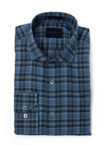 Calder Calder Lux Flannel Melange Twill Slate/Blue Plaid Sport Shirt