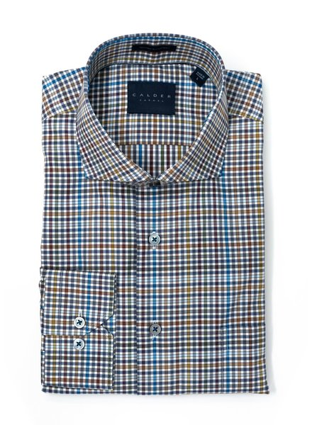 Calder Calder Lux Twill Multi Color Check Sport Shirt