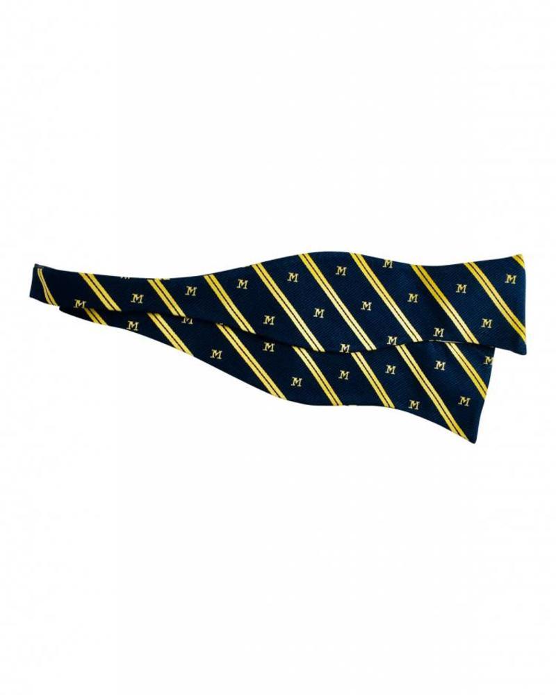 A. Christensen A. Christensen M Silk Bow Tie-  Navy Stripe