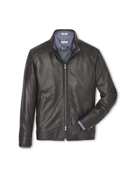 Peter Millar Peter Millar Boylan Classic Leather Bomber Jacket - Brown