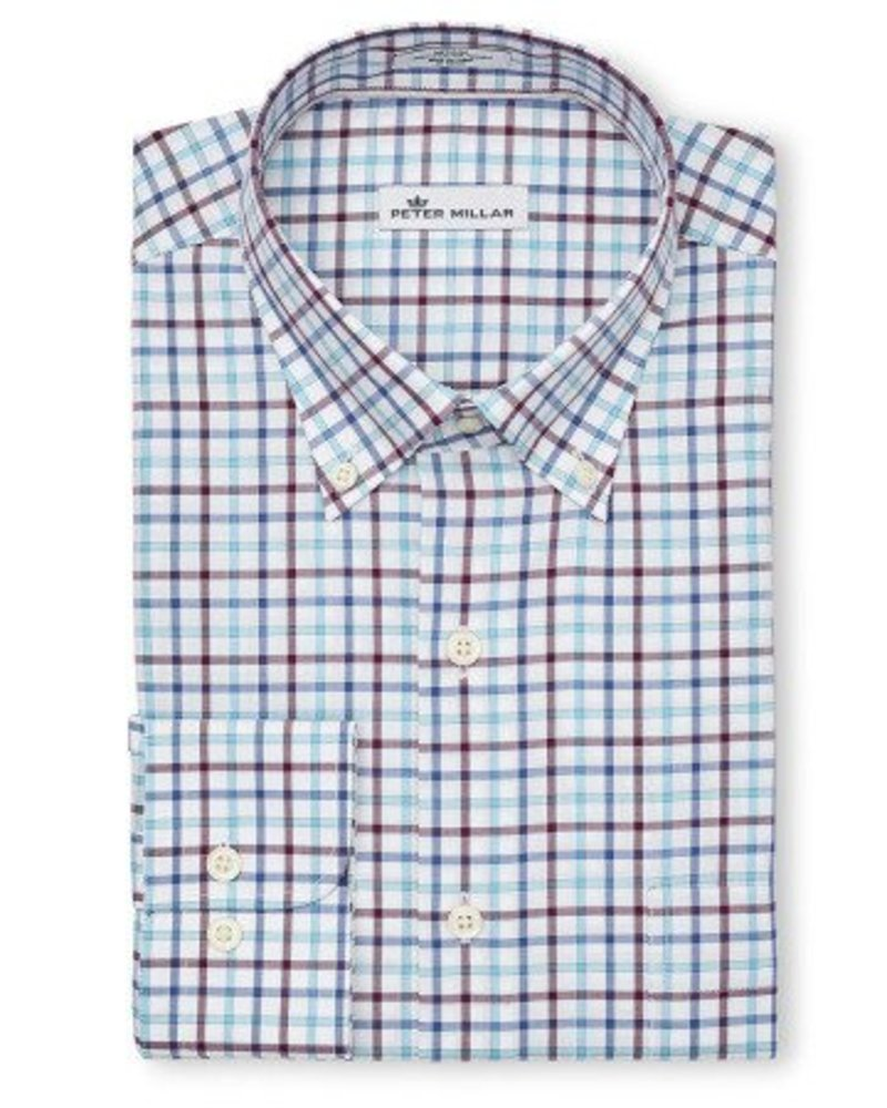 Peter Millar Peter Millar Crown Ease Eyre Square Tattersall Sport Shirt - Swiss Blue