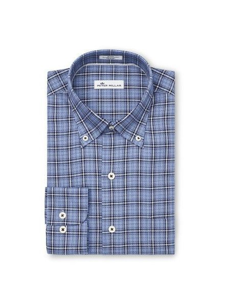 Peter Millar Peter Millar Crown Fleece Briar Hill Tartan Sport Shirt - Cottage Blue