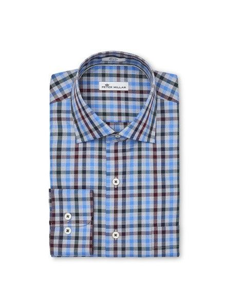Peter Millar Peter Millar Crown Macon Multi-Check Sport Shirt - Marina Blue