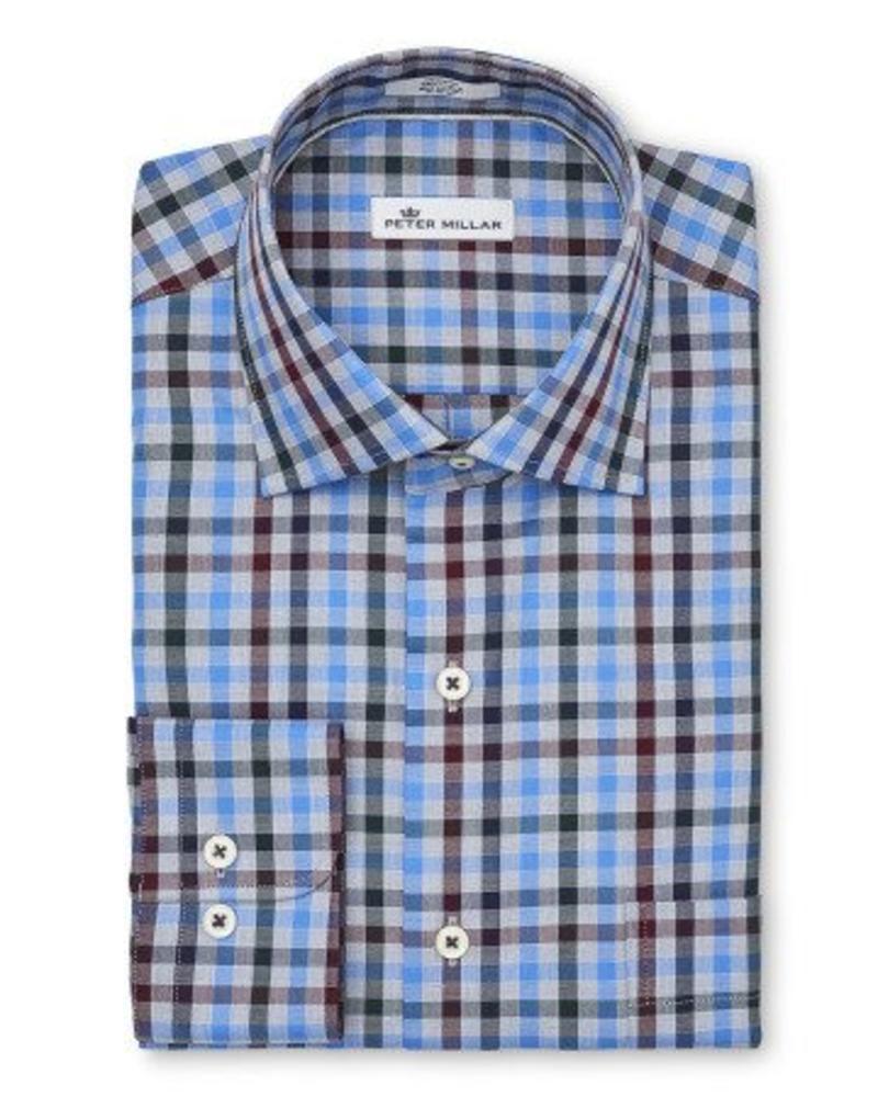 Peter Millar Peter Millar Crown Macon Multi-Check Sport Shirt - Marina Blue