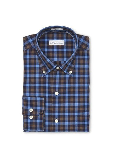 Peter Millar Peter Millar Crown Finish Moorland Multi-Gingham Sport Shirt - Marina Blue