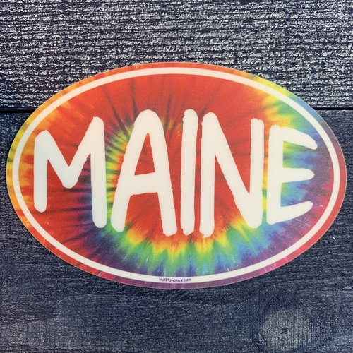 Blue 84 Tye Dye Oval Maine Sticker