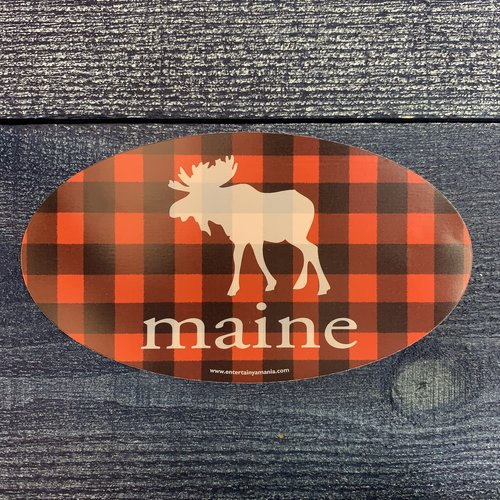 Entertainya Plaid Moose Oval Sticker