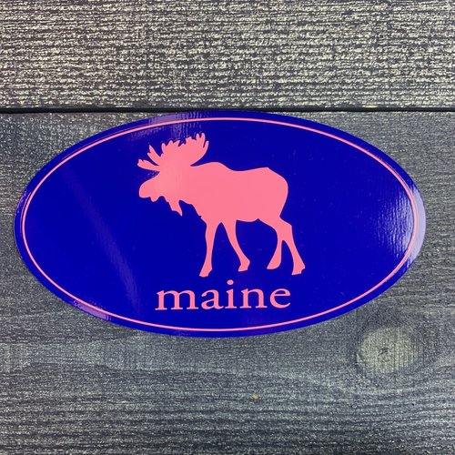 Entertainya Pink Moose Oval Sticker