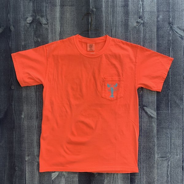 Coed The Blue Lobster Maine Pocket T-shirt- Neon Red Orange