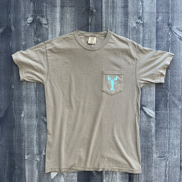 Coed The Blue Lobster Maine Pocket T-shirt- Gray