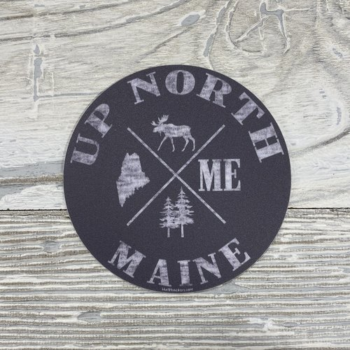 Blue 84 How Come Maine Moose Up North Sticker