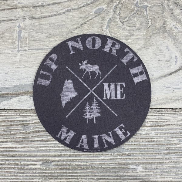 Blue 84 Sticker- How Come Maine Moose Up North