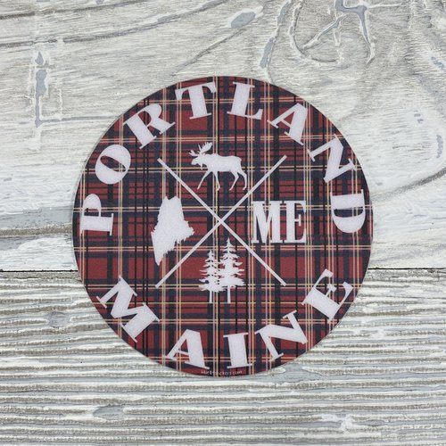 Blue 84 Sticker- How Come Maine Moose Plaid