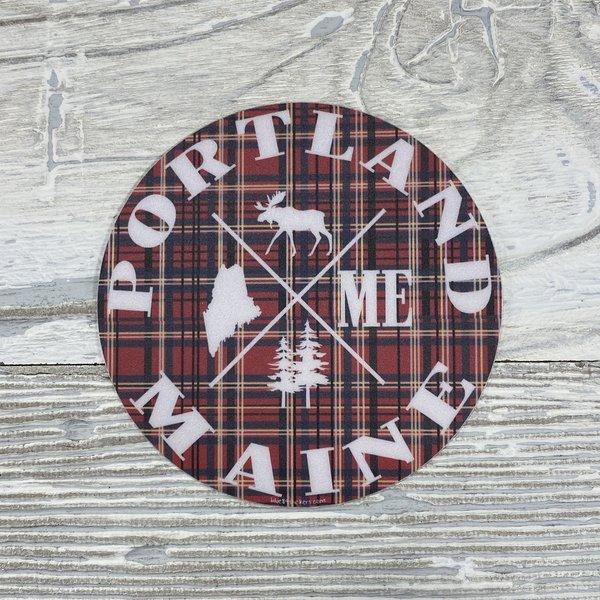 Blue 84 Sticker- How Come Maine Moose Plaid