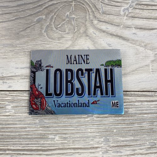 Maine Scene Foil Lobster License Plate Magnet