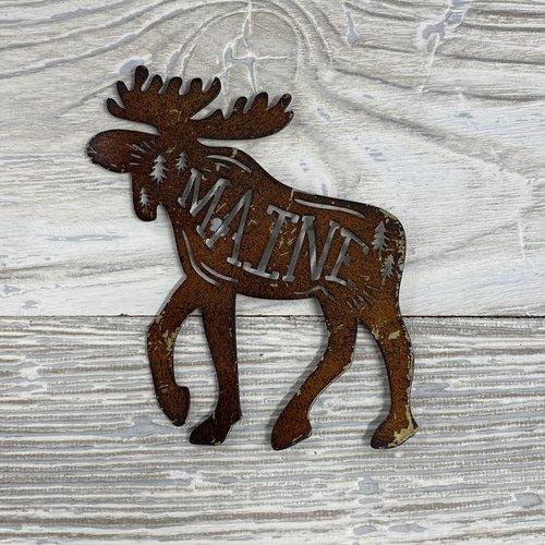Maine Scene 495-Magnet-Metal Moose