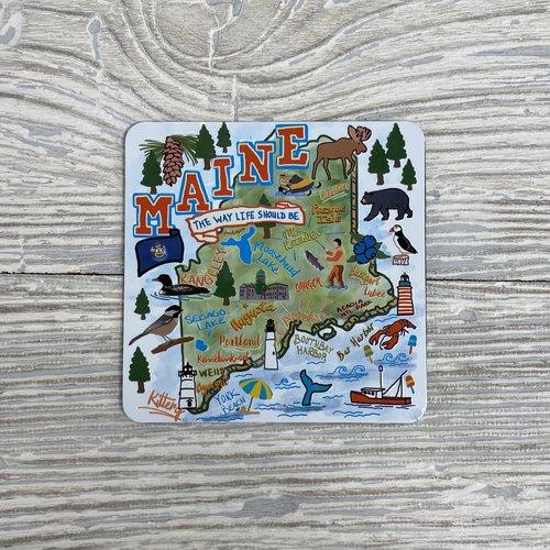 Maine Scene Stamped Metal Vintage ME Map Magnet