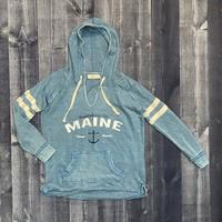 Ocean Drive Maine Anchor Burnout Stripe Sleeve Hoodie