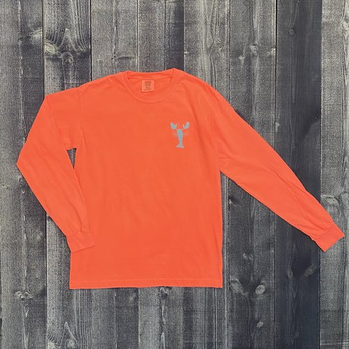 Coed The Blue Lobster Longsleeve T-shirt- Neon Red/Orange