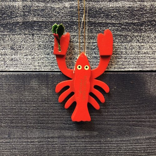 Cape Shore Wood Lobster Christmas Ornament