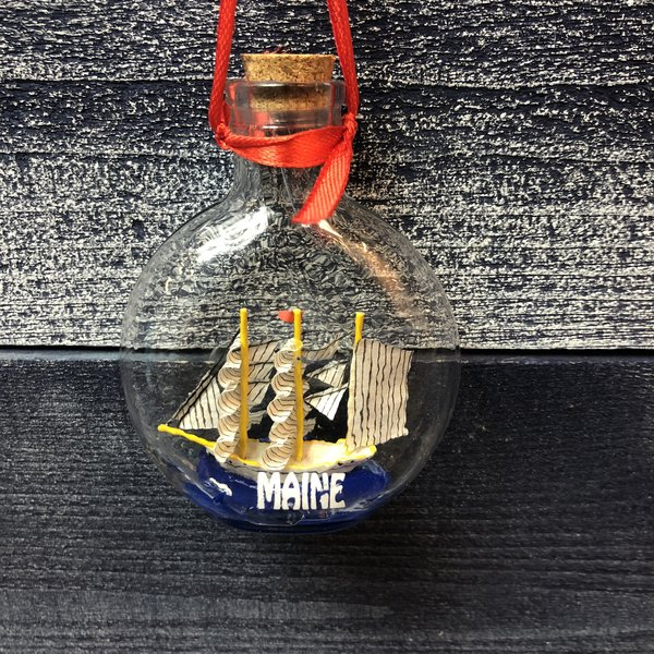 Chesapeake Bay Ship In a Bottle Christmas Ornament