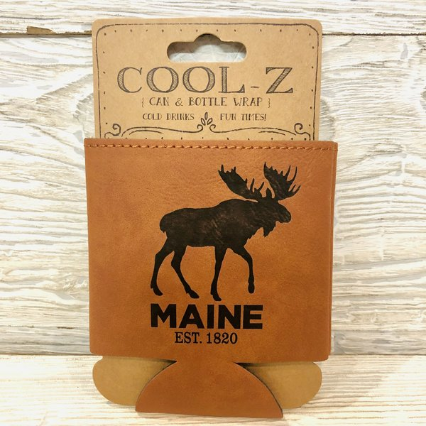 Maine Scene Leather Moose Can Coozie