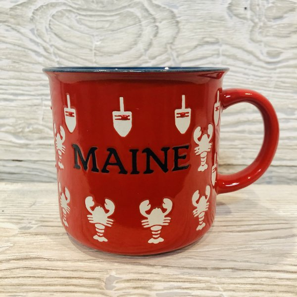 Maine Scene Etched Lobster and Buoy Camp Mug