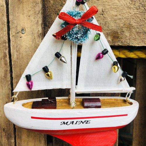 Chesapeake Bay Christmas Lights Sailboat Ornament