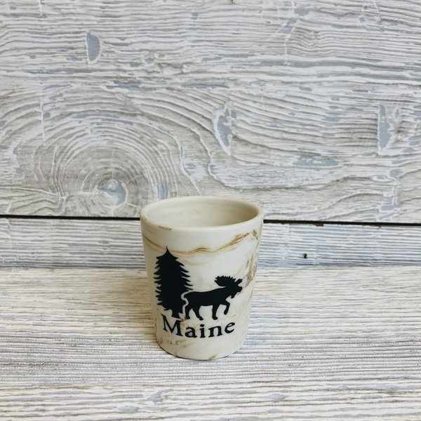 Maine Scene 135-Shot Glass-Marble Moose
