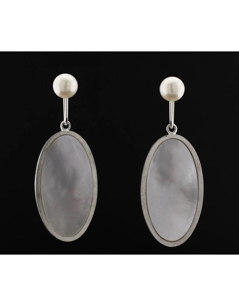 Megan McGaffigan White Mother of Pearl Post Dangle Earrings