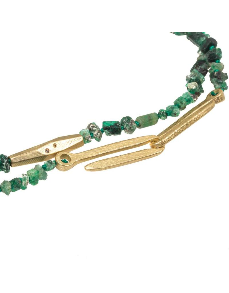 Rough Emerald Bead and Bronze Necklace with Cognac Diamonds