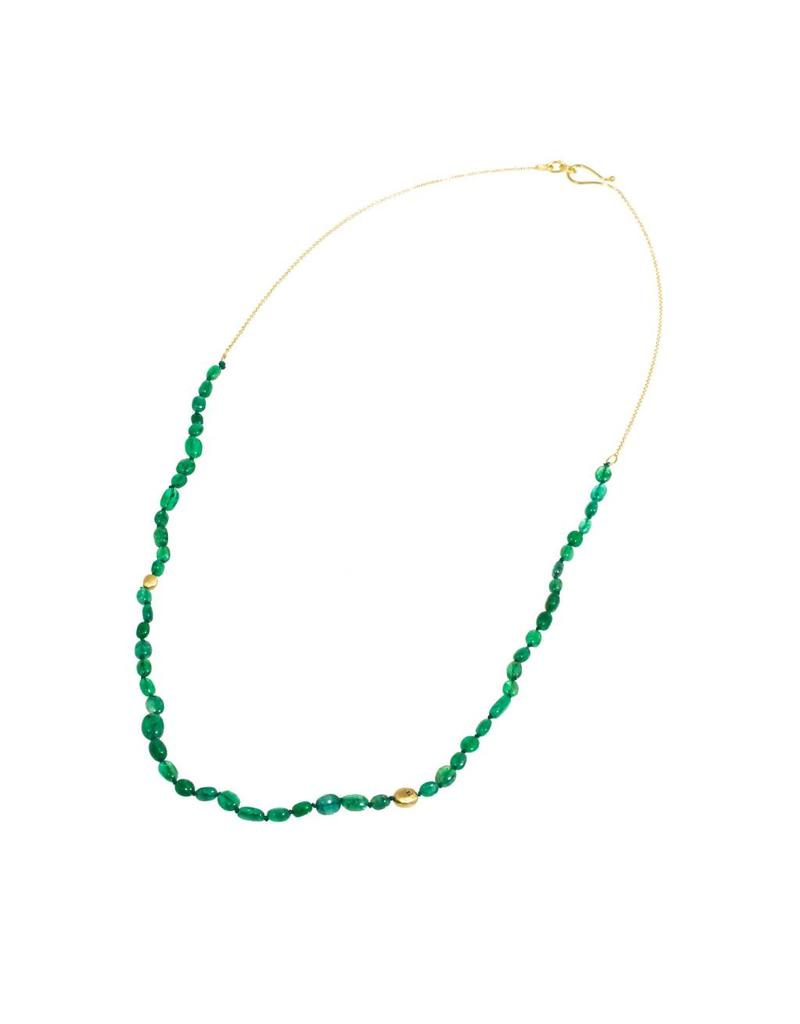 Oval Emerald Bead Necklace with 18k Yellow Gold Chain
