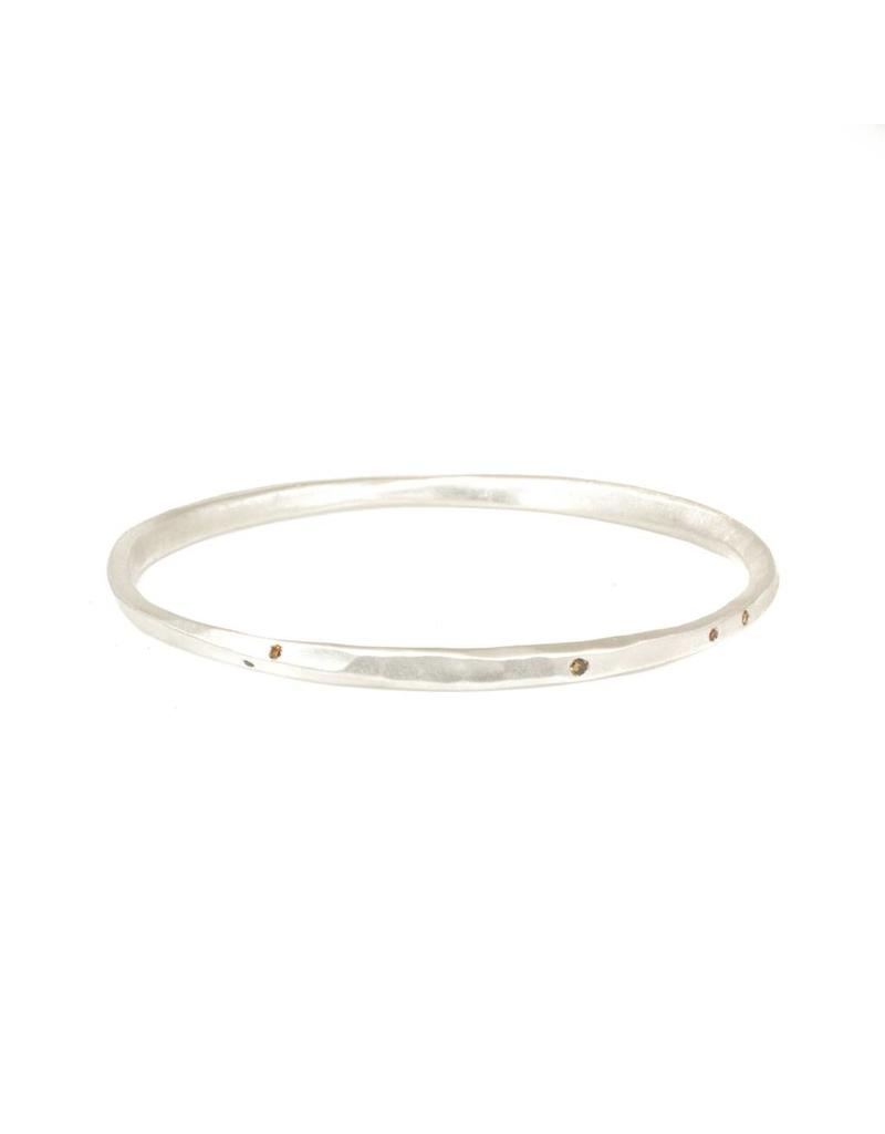 Oval Hammered Twist Bangle with (11) Autumn Diamonds in Silver