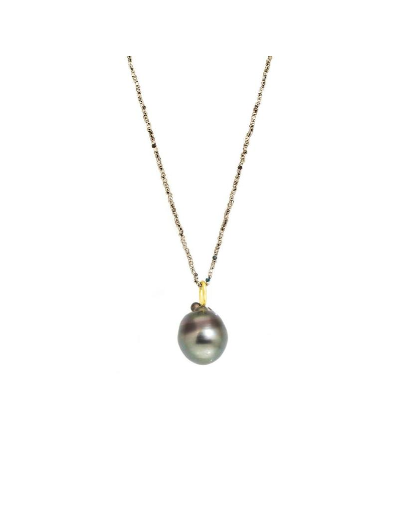 Black Tahitian Drop Pendant with 18k Yellow Gold and Steel Cut Beaded Chain