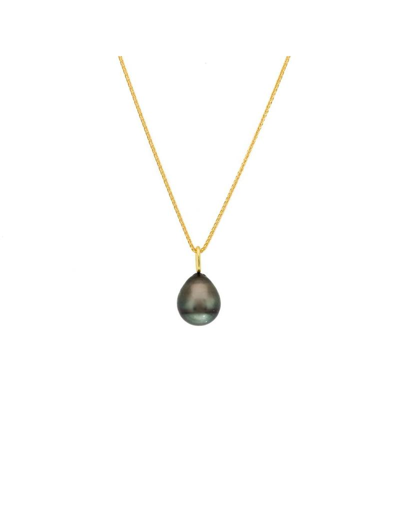Black Tahitian Pearl Drop Pendant with 18k Yellow Gold Bail and Chain