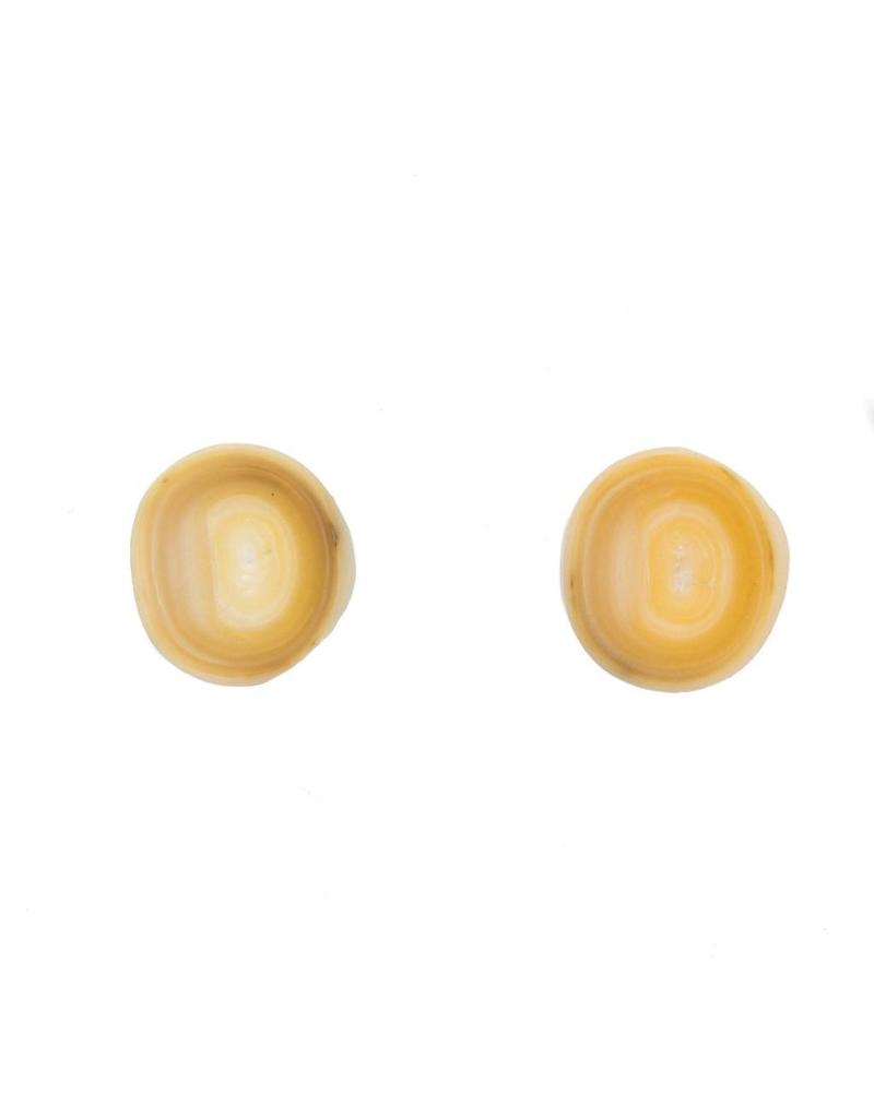 Off Round White Freshwater Pearl Post Earrings