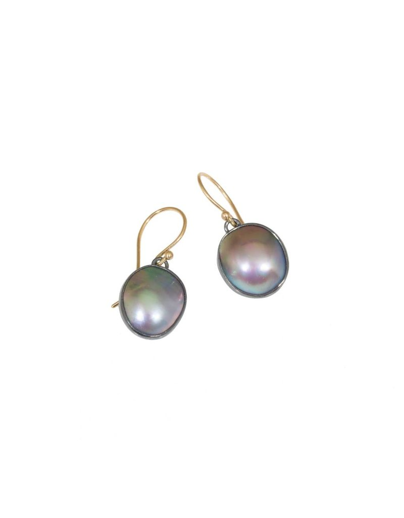 Larger Organic Shaped Mabe Pearls in Oxidized Silver, 14k FEW