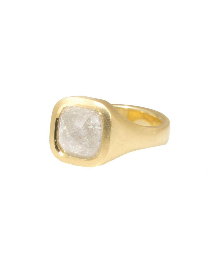 White Square Rosecut Diamond Ring in 18k Yellow Gold