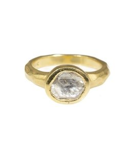 Organic Shaped Rose Cut White Diamond Ring in 18k Yellow Gold