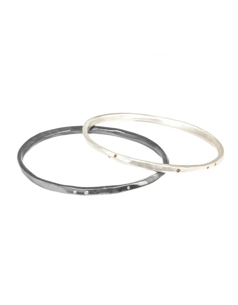 Oval Hammered Twist Bangle with (5) White Diamonds in Oxidized Silver
