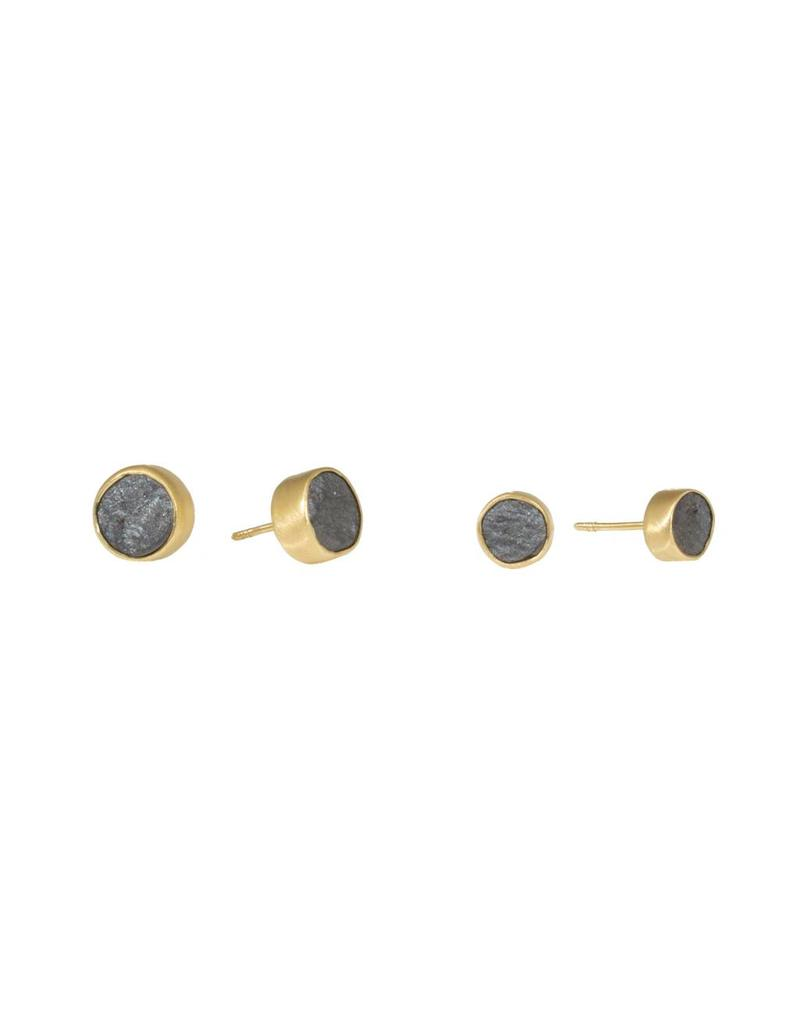 Hematite Post Earrings in 18k Yellow Gold - Large