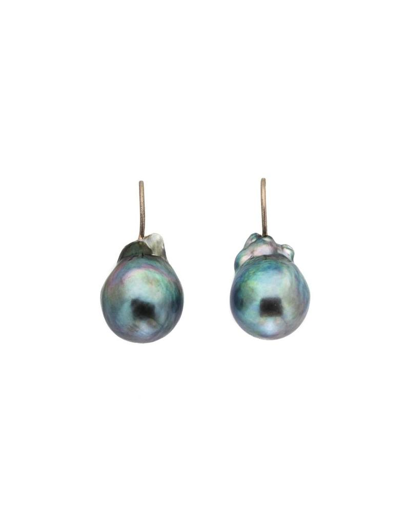 Blue-Grey Baroque Tahitian Pearl Earrings with 18k Palladium White Gold