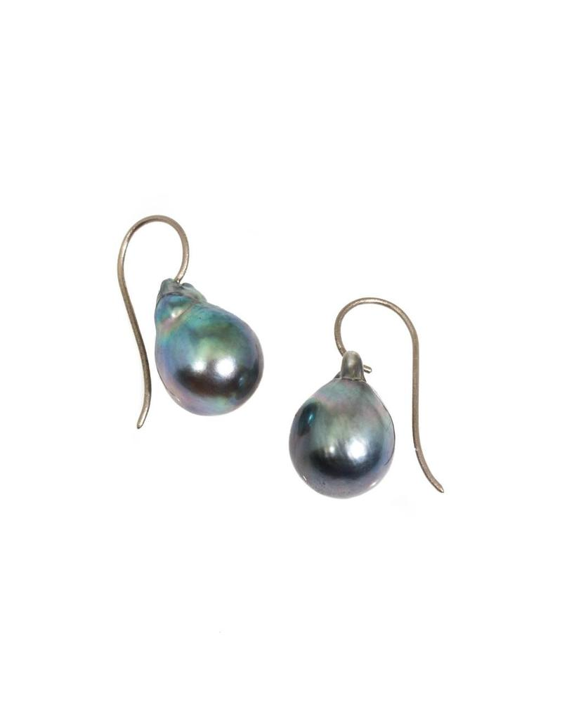 Blue-Grey Baroque Tahitian Pearls with 18k Palladium White Gold