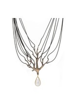 Tree Drop Necklace in Bronze with Mabe Pearl
