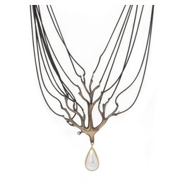 Tree Drop Necklace in Bronze with Maybe Pearl