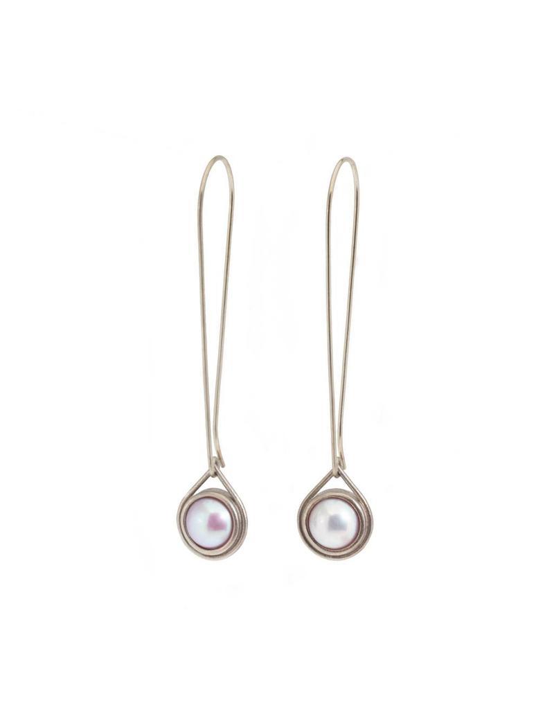 Pearl Drop Earrings in 14k Palladium White Gold