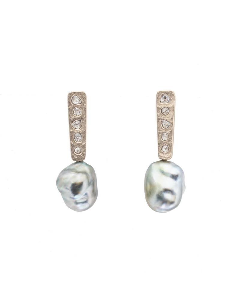 Keshi Pearl Post Dangle Earrings with Salt And Pepper Diamonds in 18k Palladium White Gold
